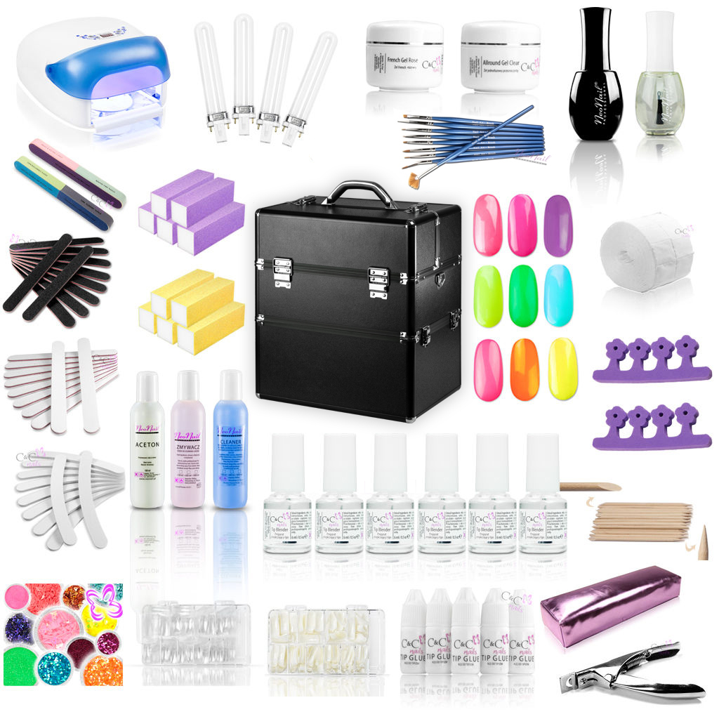 starter set xxxl mit koffer uv lampe 36 watt uv gele tips nagellack nagelfeilen ebay. Black Bedroom Furniture Sets. Home Design Ideas